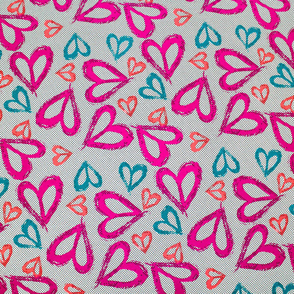 A flat sample of Scattered Hearts Printed Spandex.