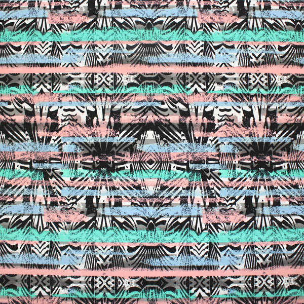 A flat sample of Geometric Stripe Printed Spandex.