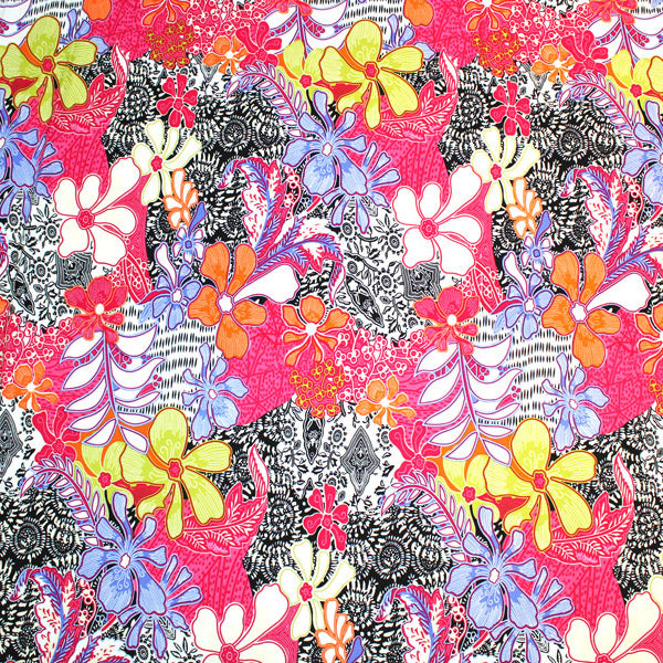 A flat sample of Kaleidoscope Flowers Printed Spandex.