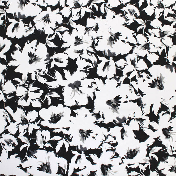 A flat sample of X Ray Flowers Printed Spandex.