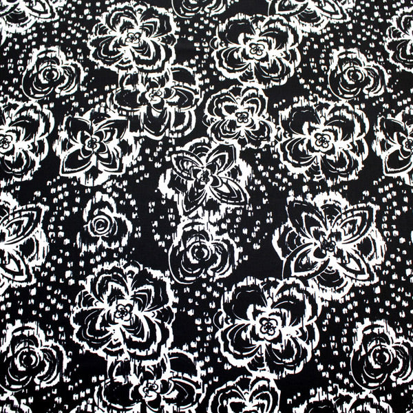 A flat sample of Midnight Hibiscus Printed Spandex.