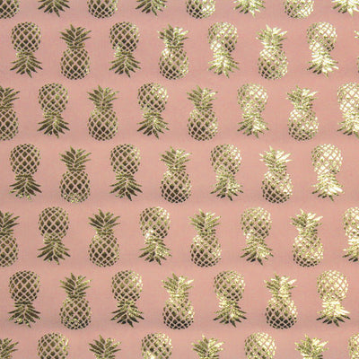 Gold Pineapples on Pink Foil Printed Spandex