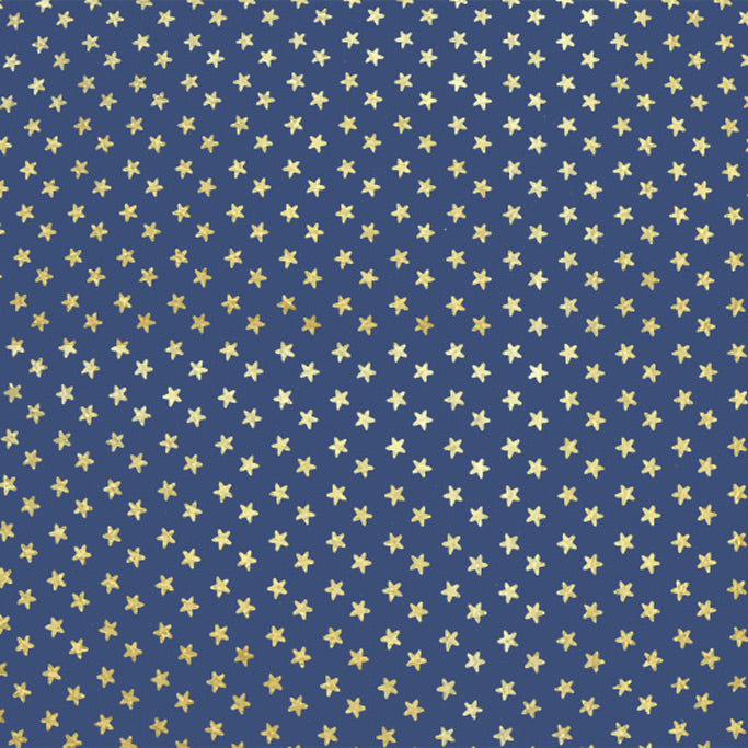 A flat sample of Gold Stars on Navy Foiled Spandex.