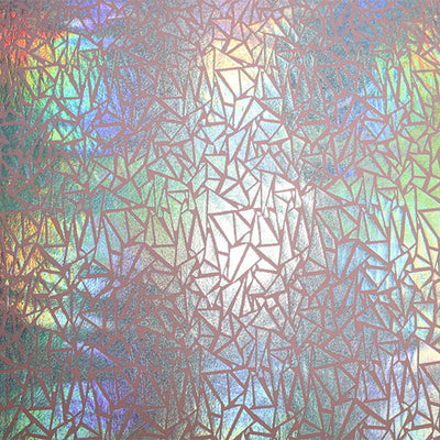 A flat sample of Silver Hologram Mosaic on Blush Foiled Spandex.