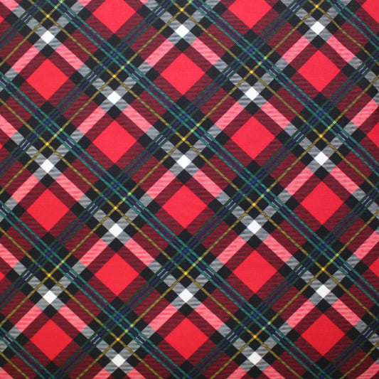 A flat sample of Scotch Plaid Printed Spandex.