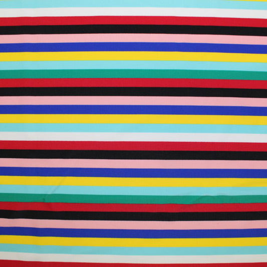 A flat sample of Vibrant Summer Stripes Printed Spandex.