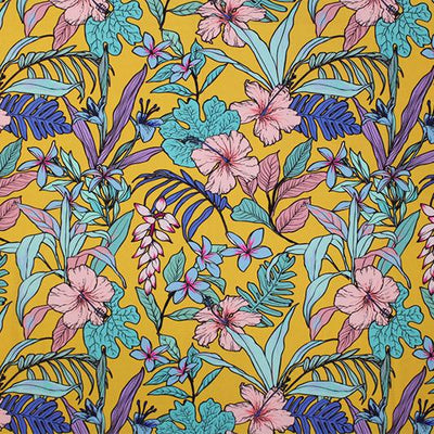 A flat sample of Tropical Yellow Garden Printed Spandex.
