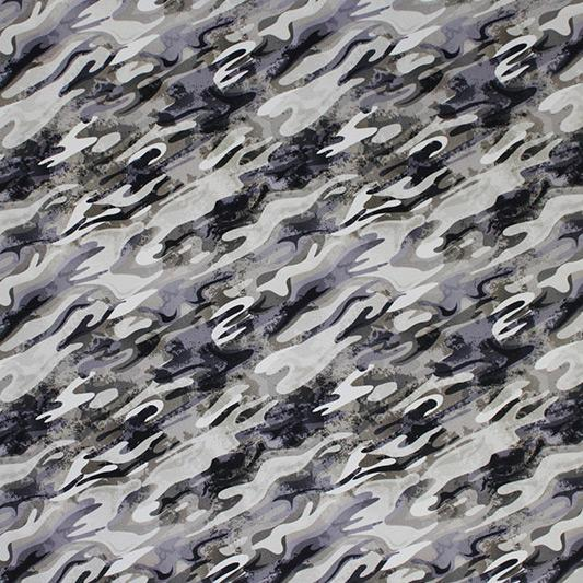 Neutral Gray Camo Printed Spandex