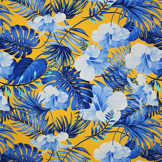 A flat sample of Yellow and Blue Hawaiian Printed Spandex.