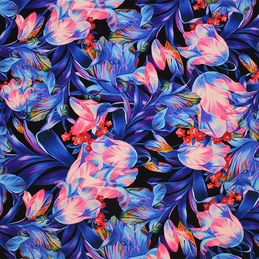 Vibrant Floral on Black Printed Spandex
