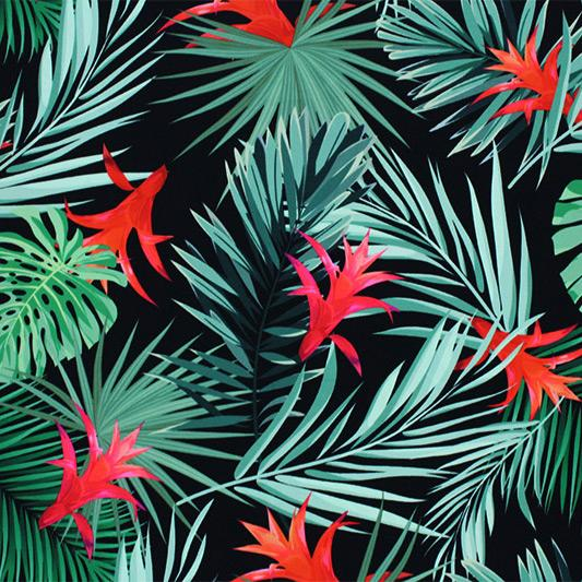A flat sample of Bromeliad Garden Printed Spandex.