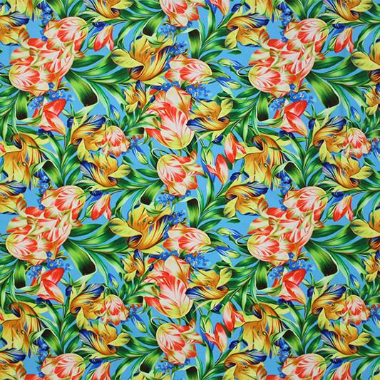 A flat sample of Royal Bouquet Printed Spandex.
