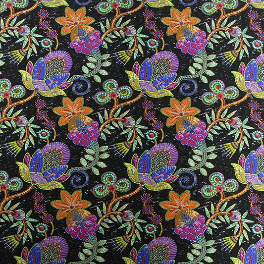 A flat sample of Moroccan Night Garden Printed Spandex.