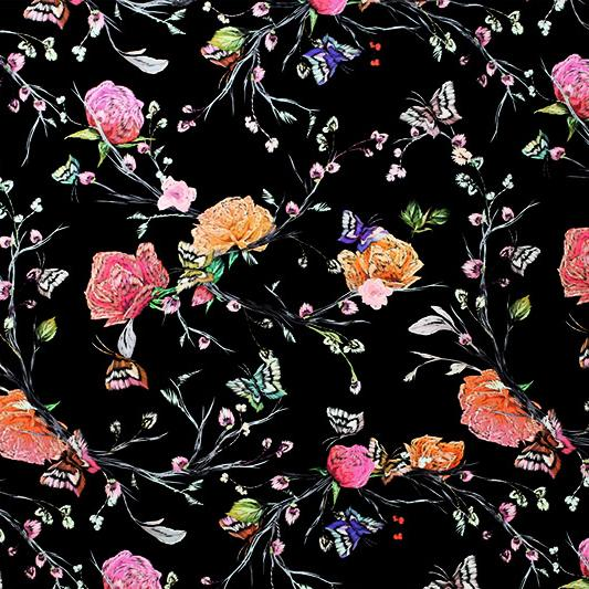 A flat sample of Roses and Butterflies on Black Printed Spandex.