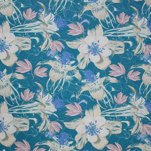 A flat sample of Muted Flowers on Teal Printed Spandex.