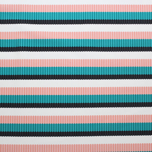 A flat sample of Palm Beach Stripes Printed Spandex.