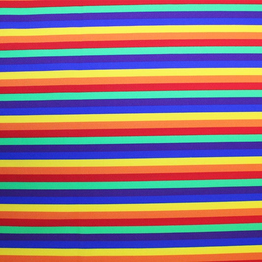 A flat sample of Rainbow Stripes Printed Spandex.