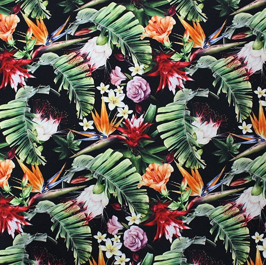 A flat sample of Tropical on Black Printed Spandex.