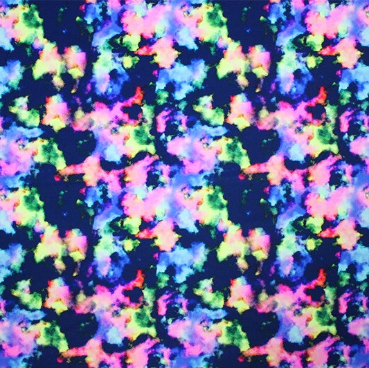 A flat sample of Neon Splash Printed Spandex.