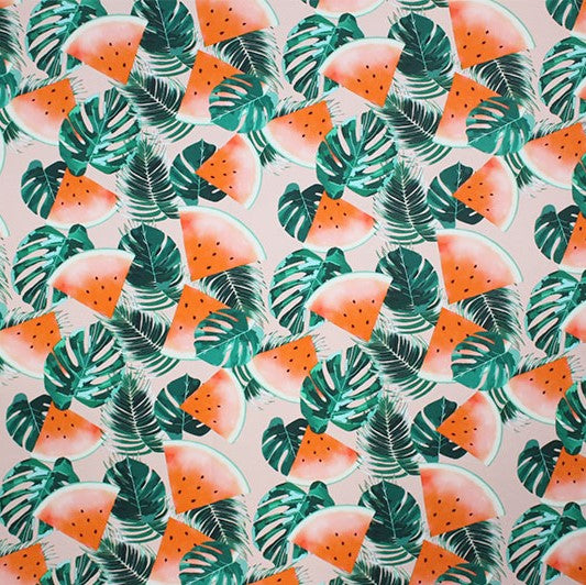A flat sample of Tropical Watermelon Printed Spandex.