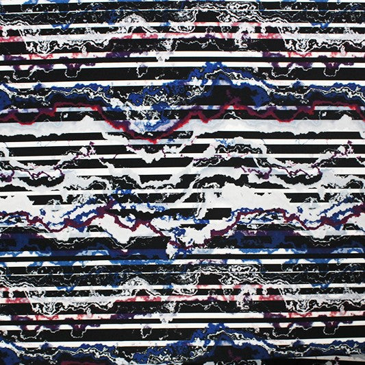 A flat sample of Distressed Stripes Printed Spandex.