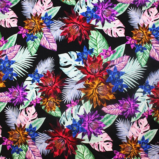 A flat sample of Floral Paradise Printed Spandex.