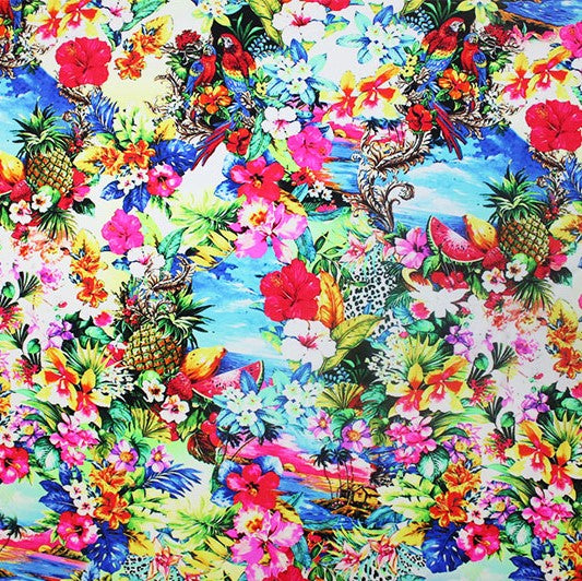 A flat sample of Tropical Island Printed Spandex.