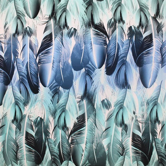 A flat sample of Soothing Feathers Printed Spandex.