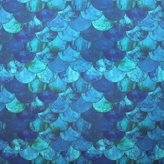 A flat sample of Blue Mermaid Printed Spandex.