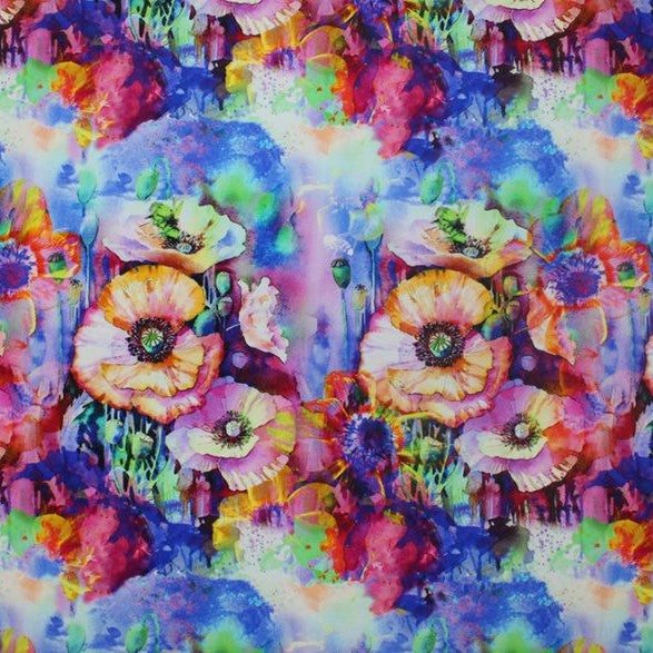 Colorful Flowers Printed Spandex