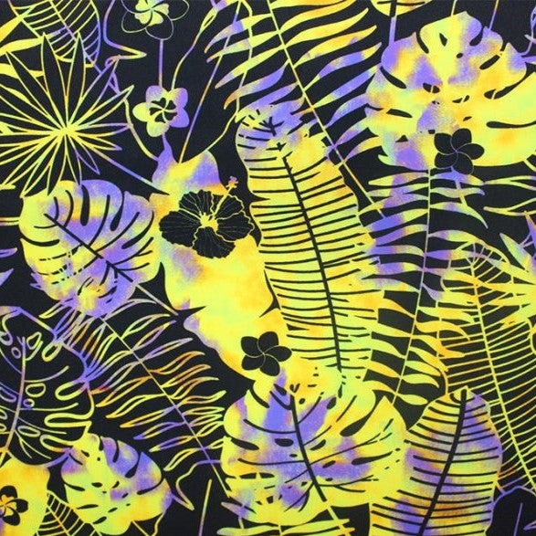 A flat sample of hippie flowers printed spandex.