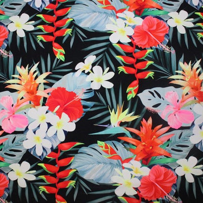 A flat sample of tropical mood printed spandex.