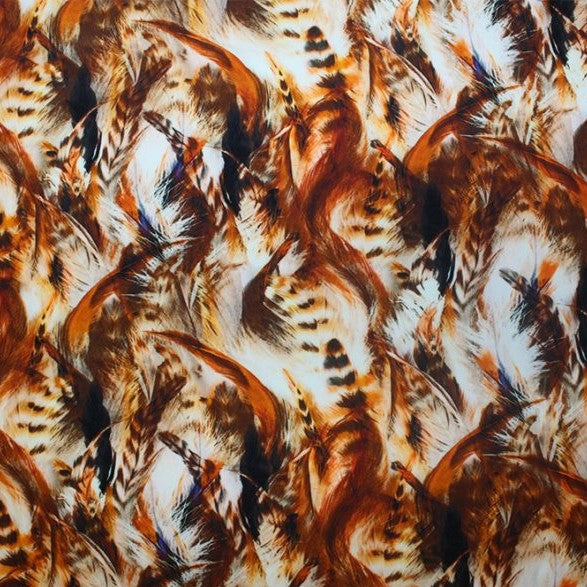 A flat sample of classic feather printed spandex.