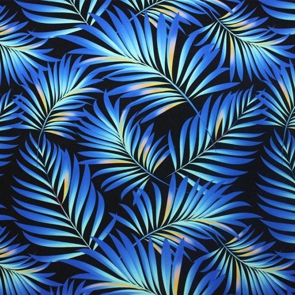 A flat sample of blue palm leaves printed spandex.