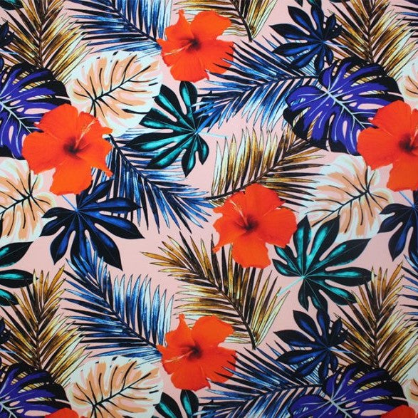 A flat sample of tropical vibes printed spandex.