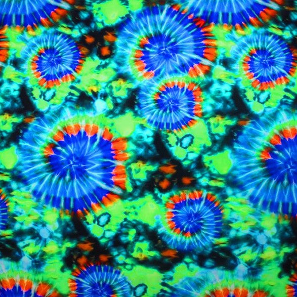 A flat sample of good vibes tie-dye printed spandex.