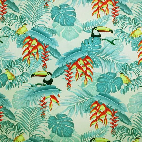 A flat sample of toucans in jungle printed spandex.