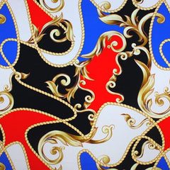 A flat sample of carousel printed spandex in the color black/royal.