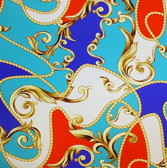 A flat sample of carousel printed spandex in the color blue/teal.