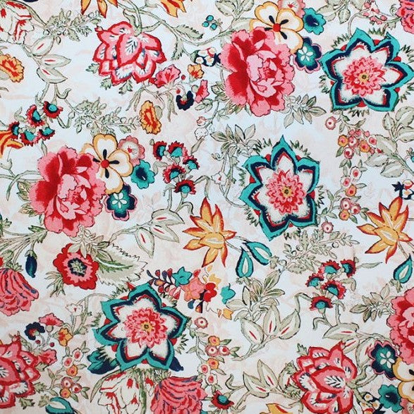 A flat sample of vintage floral printed spandex.