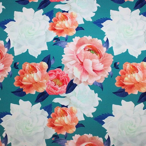 A flat sample of peony printed spandex.