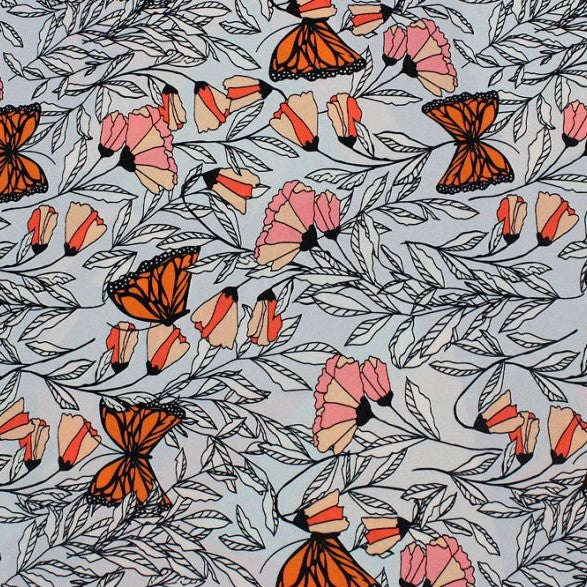 A flat sample of monarch garden printed spandex.