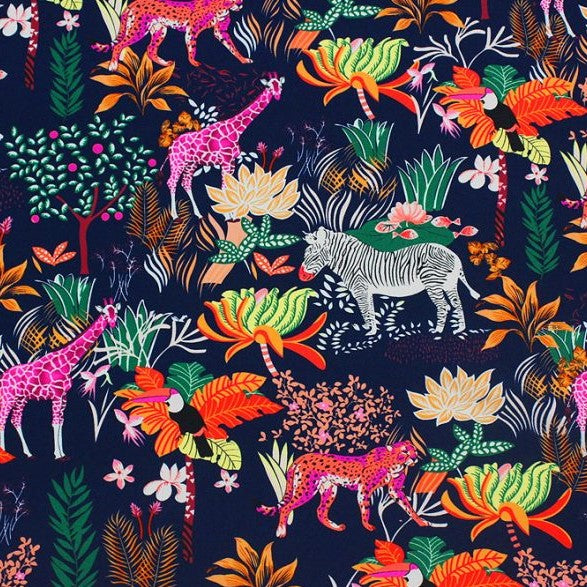 A flat sample of safari printed spandex.
