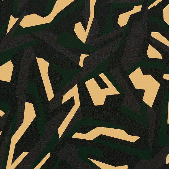 A flat sample of abstract camo printed spandex.