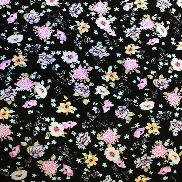 Wild Flowers on Black Printed Spandex