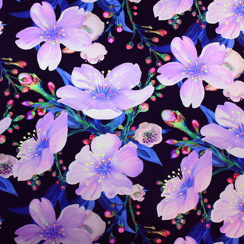 Sakura Blooms at Night Printed Spandex
