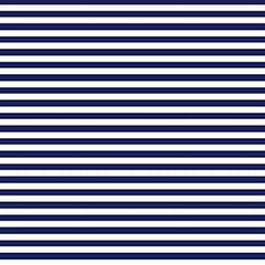 A flat sample of Striped Printed Spandex with quarter inch navy and white stripes.