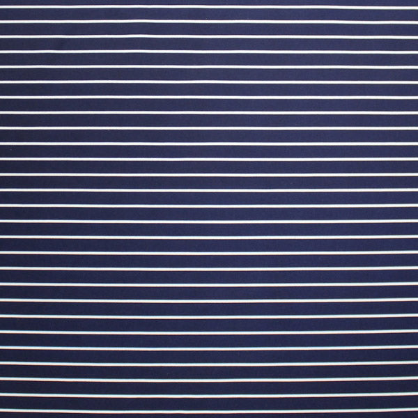 A flat sample of Striped Navy White Printed Spandex.