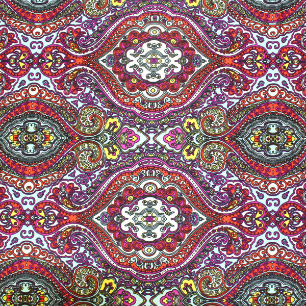 A flat sample of Oriental Paisley Printed Spandex.