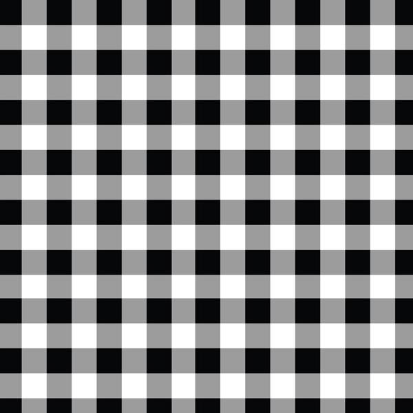 A flat sample of Gingham Printed Spandex with half inch squares in the colors Black and White.